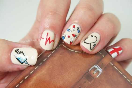 100 nurse nail designs inspired by the medical profession nail 32syringe life line pills stethoscope and red cross nail design prinsesfo Images