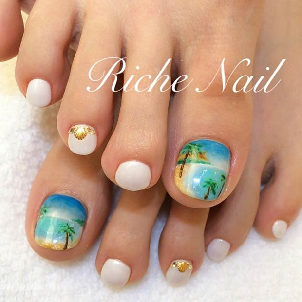 2Beach Palm Nail Design - 15 Summer-Inspired Beach Toenail Designs Nail Design Ideaz