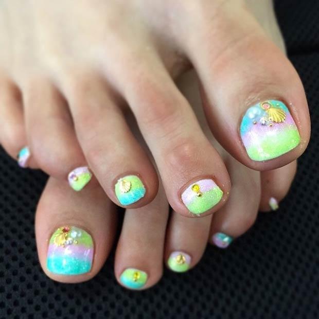 Mermaid Nail Art Adorable: 15 Summer-Inspired Beach Toenail Designs