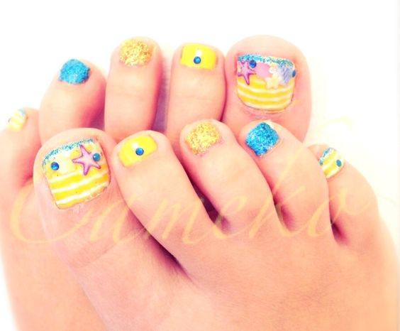 15 summer inspired beach toenail designs nail design ideaz 6fun summer beach nail art design prinsesfo Image collections