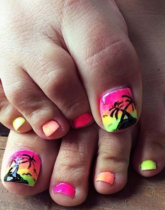 3nails With Sunset And Palm Trees Along The Beach Art Design