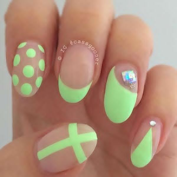 Cute Neon Green Nail Art with Polka Dot, French Tip and Cross - 20 Stand Out Neon Green Nails Nail Design Ideaz