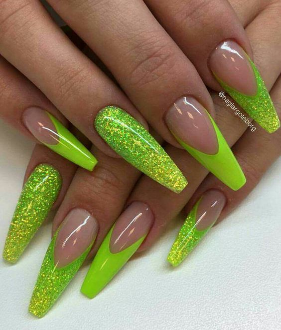 - 20 Stand Out Neon Green Nails Nail Design Ideaz