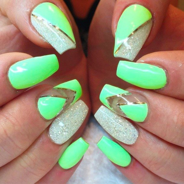 Neon with Chevron and Silvery Nails - 20 Stand Out Neon Green Nails Nail Design Ideaz