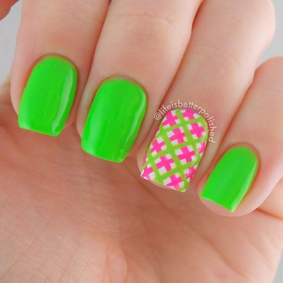 20 stand out neon green nails nail design ideaz perfect pink stripe in neon green nails prinsesfo Images
