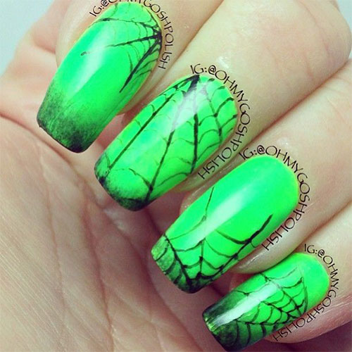 Spider Web In Neon Green Nails
