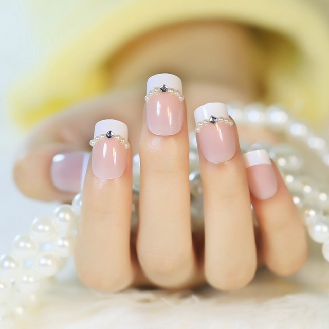 Acrylic French Nail Tips Nature Color Pearl Rhombic Crystals Diamond