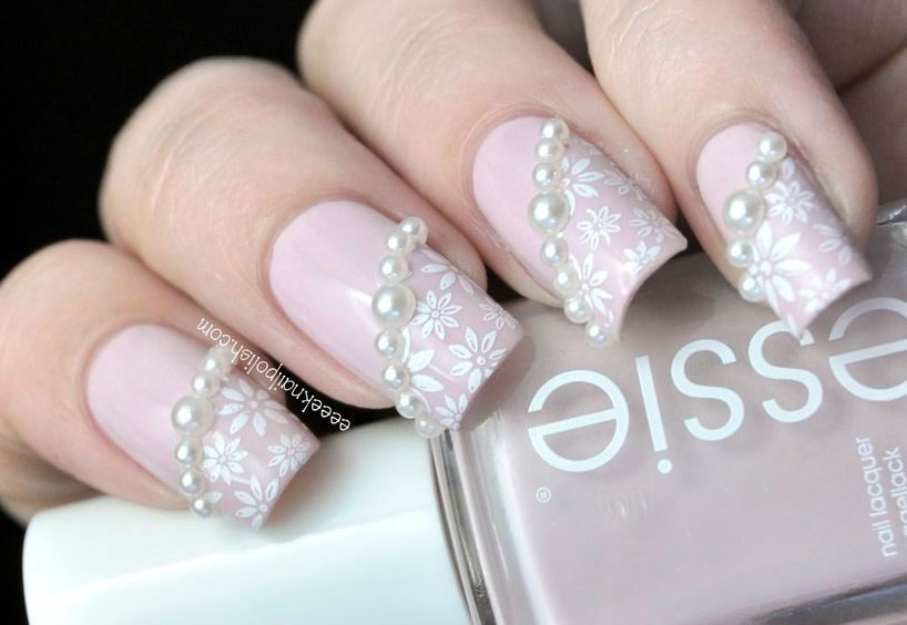 Pearl with Floral Nail Art - 17 Classy Pearl Tip Nails Nail Design Ideaz