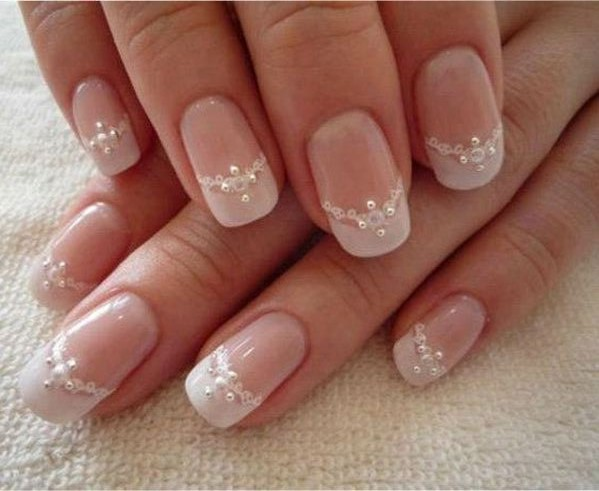 Princess Necklace Look Nail Design - 17 Classy Pearl Tip Nails Nail Design Ideaz