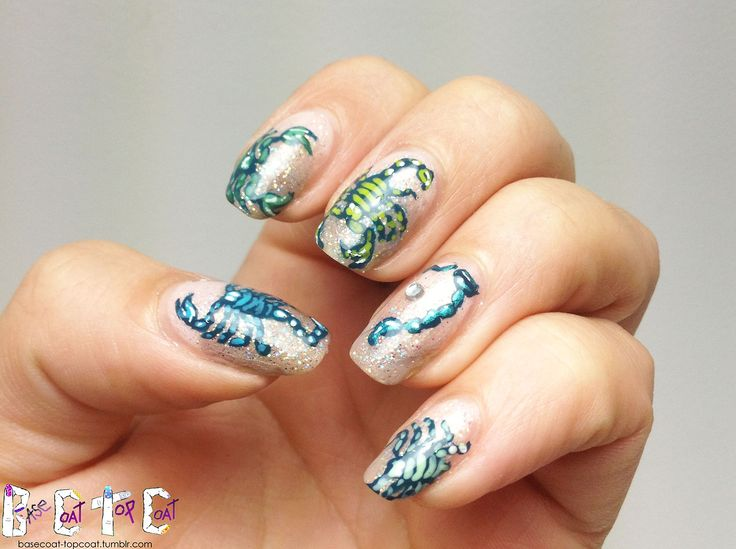 21 impressive scorpio nails youll totally adore nail design ideaz pretty scorpio in glittery nail design prinsesfo Image collections