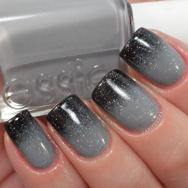 Hottest Dark and Grey Manic Nails - 30 Gorgeous Grey Nails To Keep You In Style Nail Design Ideaz