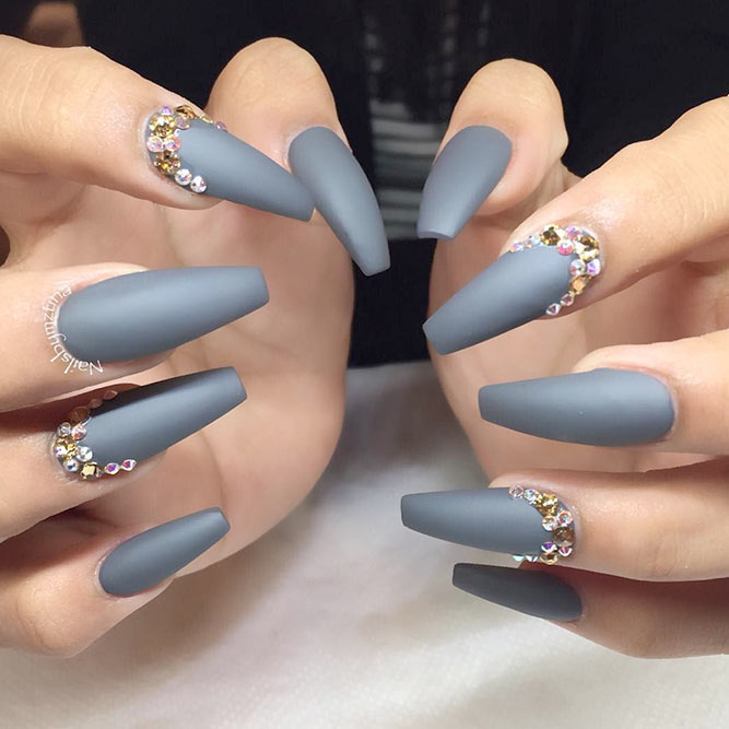 Long Coffin Nails with Rhinestones - 30 Gorgeous Grey Nails To Keep You In Style Nail Design Ideaz