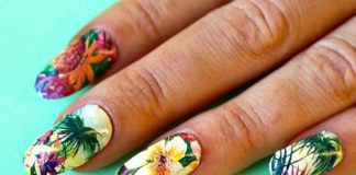 Colorful Tropical Nail Design