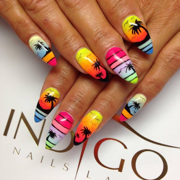 30 Youthful Tropical Summer Nail Designs | Nail Design Ideaz