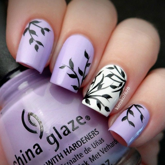 7Botanical Lavender Nails - 40 Breathtaking Botanical Nail Art Nail Design Ideaz