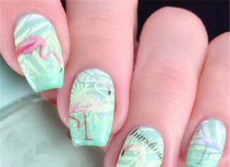 Flamigo Stencil Nail Design
