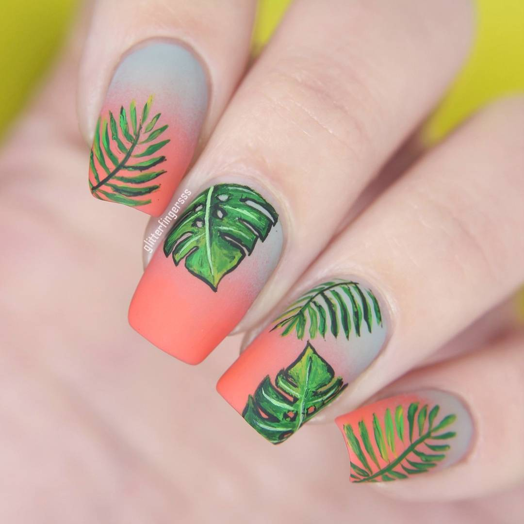 33Gradient Tropical Nail Design - 38 Refreshing Leaf Nail Designs Nail Design Ideaz