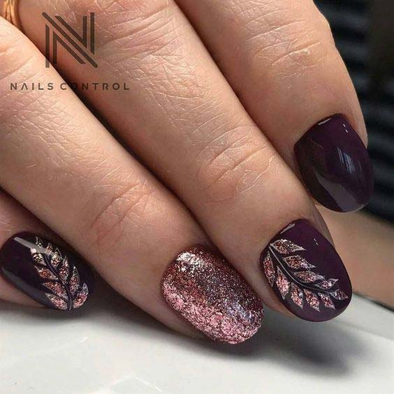 38 Refreshing Leaf Nail Designs Nail Design Ideaz