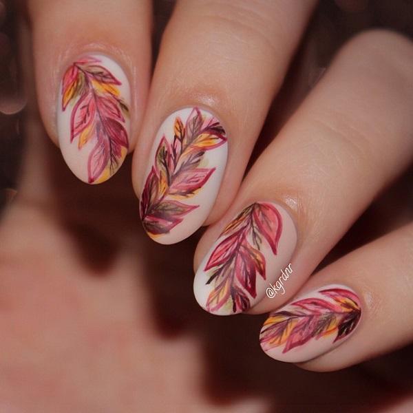 14Sketchy Leaves Nail Design - 38 Refreshing Leaf Nail Designs Nail Design Ideaz