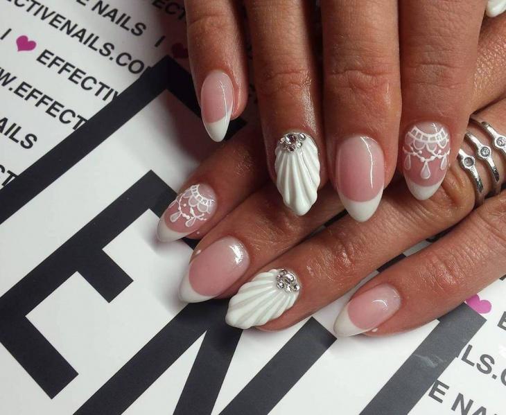353D Seashell Accent Nail Design - 35 Pretty Seashell Nail Designs Nail Design Ideaz