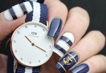 Anchor Stud Nautical Nail Art