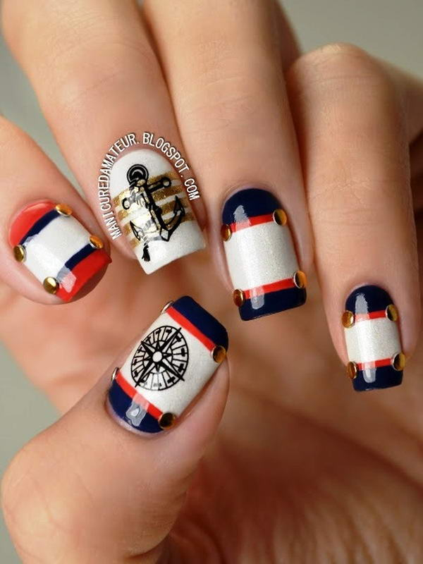 40 Irresistible Nautical Nail Designs Nail Design Ideaz