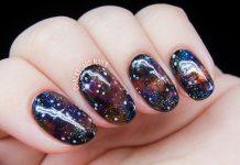 Jewel-Toned Galaxy Nails