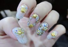Rhinestone Seashell Nails