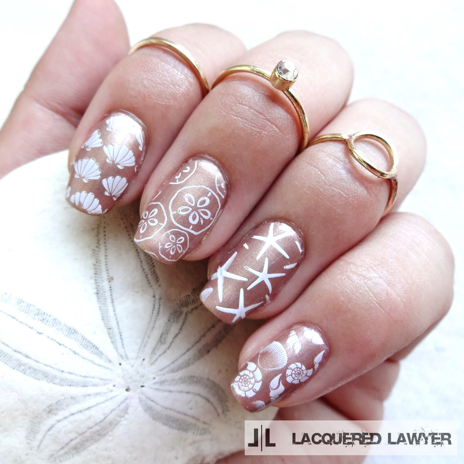 Painting Seashells With Nail Polish: 35 Pretty Seashell Nail Designs