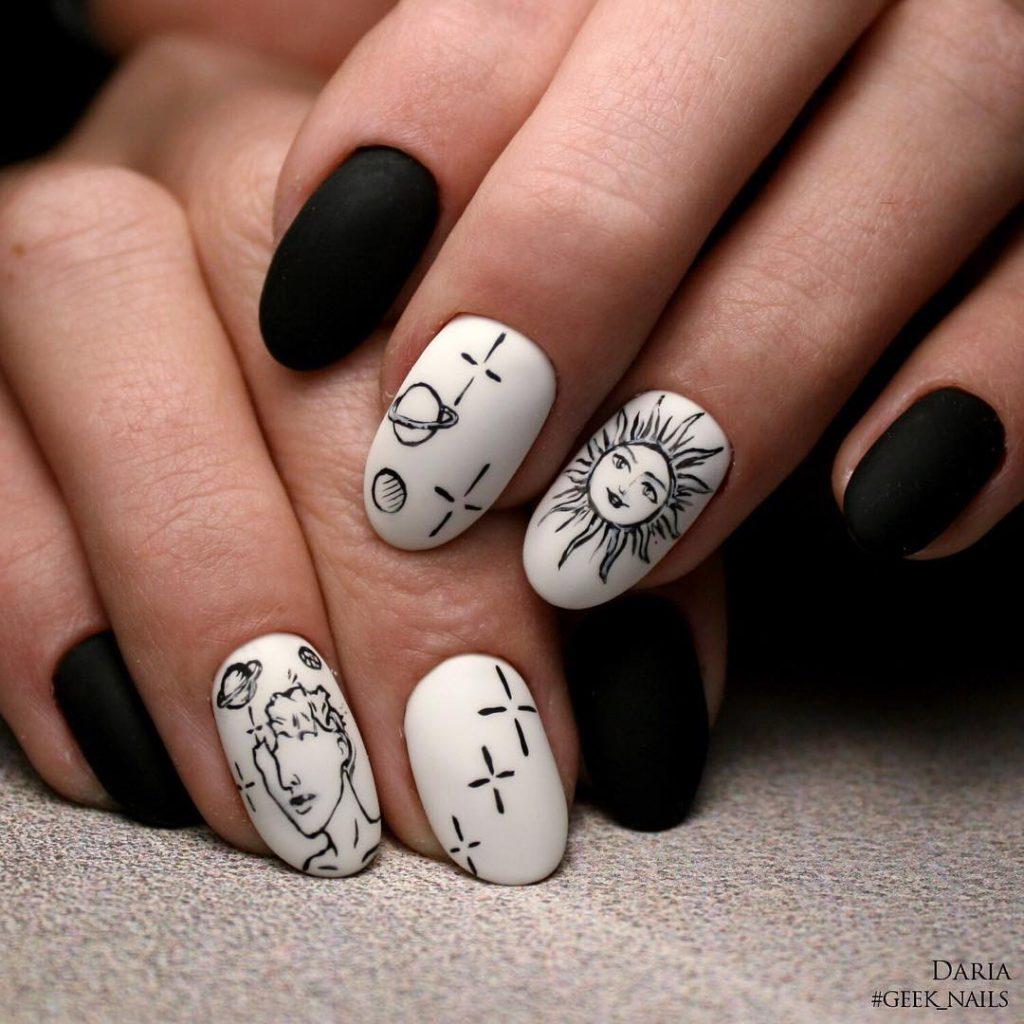 35 Whimsical Celestial Nails Nail Design Ideaz
