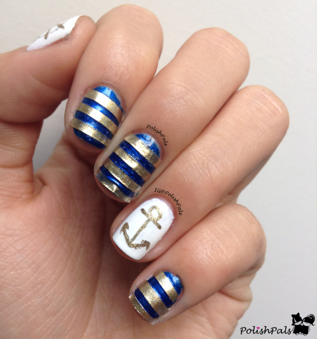 28Striped Nautical Nail Art. Image Credit: Pretty Designs - 40 Irresistible Nautical Nail Designs Nail Design Ideaz