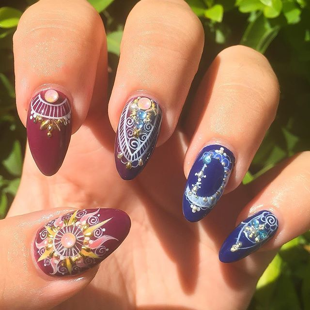 16Sun And Moon Matte Nails - 35 Whimsical Celestial Nails Nail Design Ideaz
