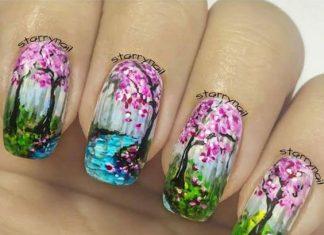 Impressionist Landscape Nail Art