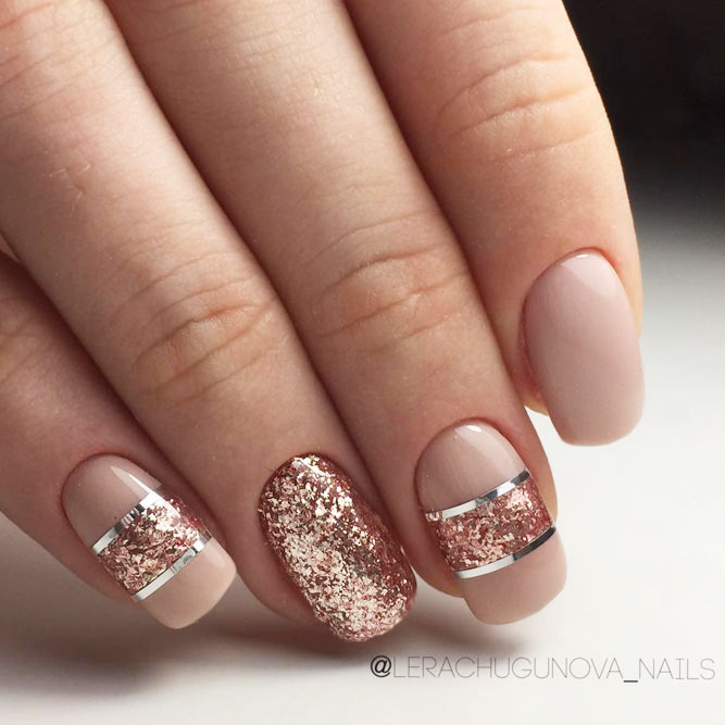 5Rose Gold Glitters On Nude Polish - 40 Timeless Classy Nail Designs Nail Design Ideaz