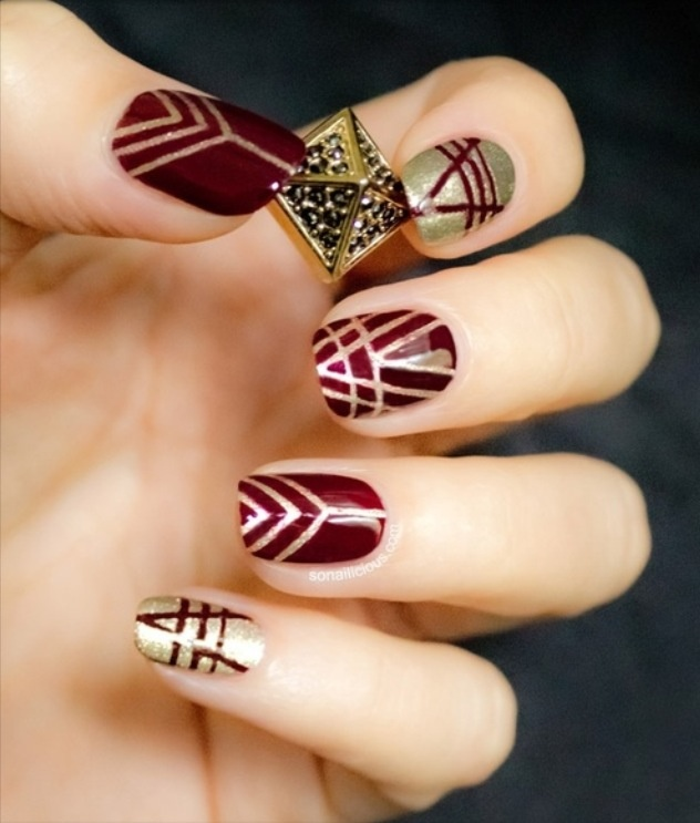 30Gold And Red Geometric Nails - 35 Bold Edgy Nails Nail Design Ideaz