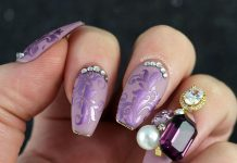 Jewel Embellished Purple Nails