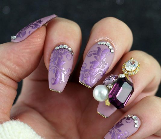 Jewel Embellished Purple Nails