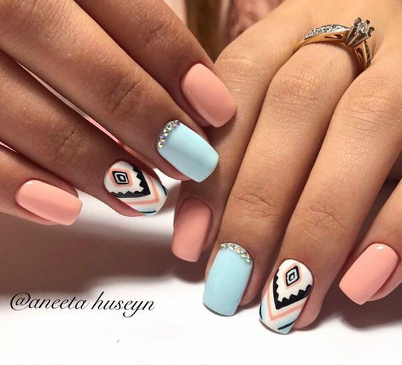 29Pastel Aztec Nail Design - 30 Arresting Designs For Short Nails Nail Design Ideaz
