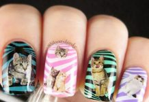 Cat Prints On Striped Nails