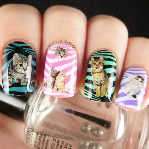9cat Prints On Striped Nails