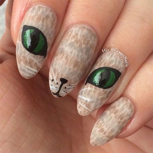 3Green Eyed Cat Nail Design - 40 Pawsome Cat Nail Design Nail Design Ideaz