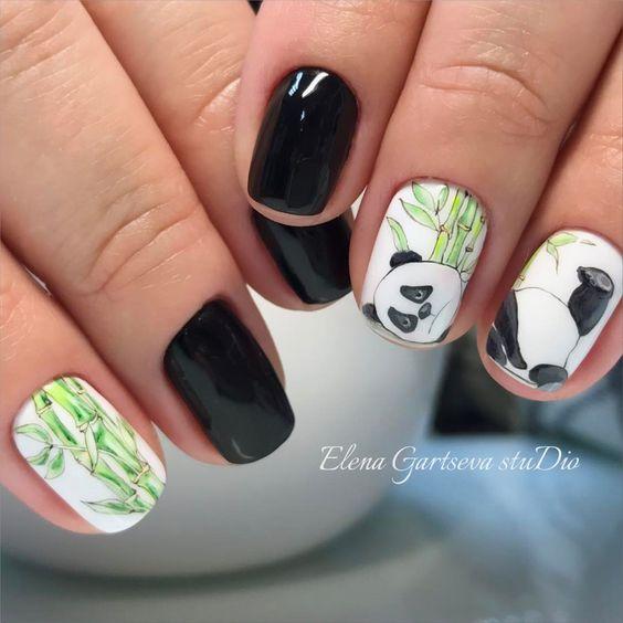 40Lazy Panda Nail Design - 40 Irresistibly Clever Nail Designs Nail Design Ideaz