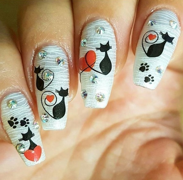 38Textured Cat Nail Design - 40 Pawsome Cat Nail Design Nail Design Ideaz