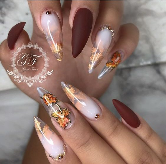 40Fall Themed Stiletto Nail Design - 40 Stiletto Nails Designs That Are Absolutely On Point Nail Design