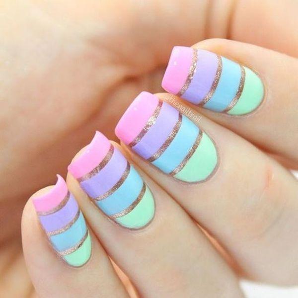1Pastel Polish Segmented Nails - 38 Girly Nail Designs That Are Definitely Worth Stealing Nail