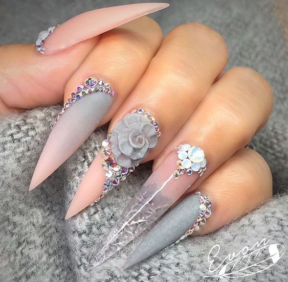 Stiletto Nail Art With Diamonds: 40 Stiletto Nails Designs That Are Absolutely On Point