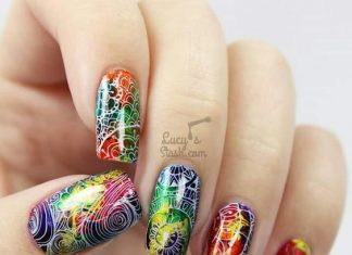 Shiny Abstract Nail Design