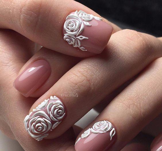40 Breathtakingly Beautiful Roses Nail Design