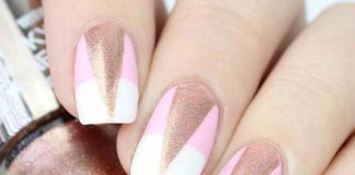 Cut Out Rose Gold Triangle Nail Art