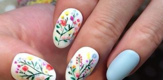 Cute Bouquet Accents On White Polish